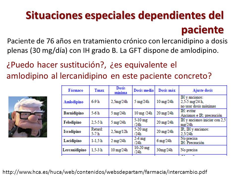 Situaciones especiales dependientes del paciente http://www.hca.es/huca/web/contenidos/websdepartam/farmacia/intercambio.pdf Paciente de 76 años en tr