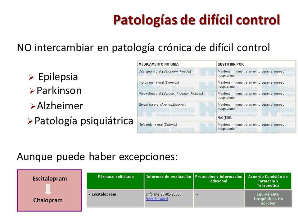 NO intercambiar en patología crónica de difícil control Patología psiquiátrica Epilepsia Parkinson Alzheimer Patologías de difícil control Escitalopra