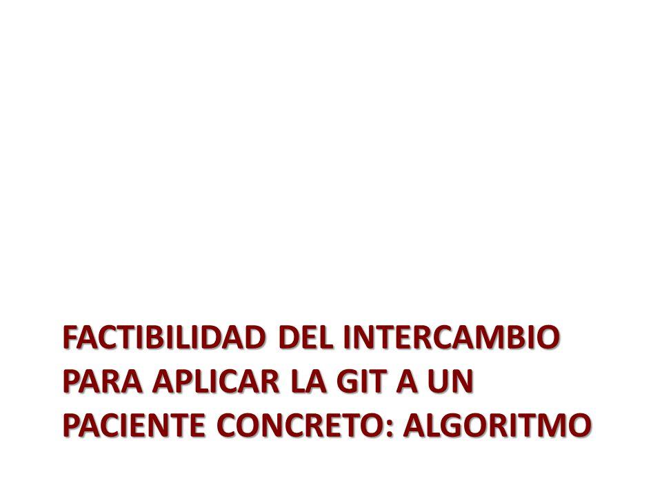 FACTIBILIDAD DEL INTERCAMBIO PARA APLICAR LA GIT A UN PACIENTE CONCRETO: ALGORITMO