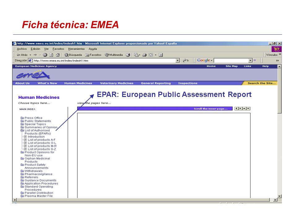 Ficha técnica: EMEA EPAR: European Public Assessment Report