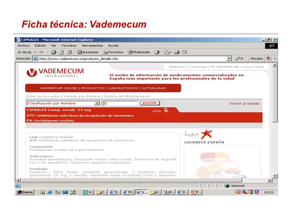 Ficha técnica: Vademecum