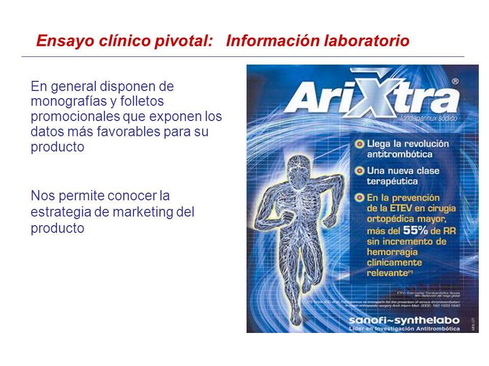 Ensayo clínico pivotal: Información laboratorio En general disponen de monografías y folletos promocionales que exponen los datos más favorables para su producto Nos permite conocer la estrategia de marketing del producto