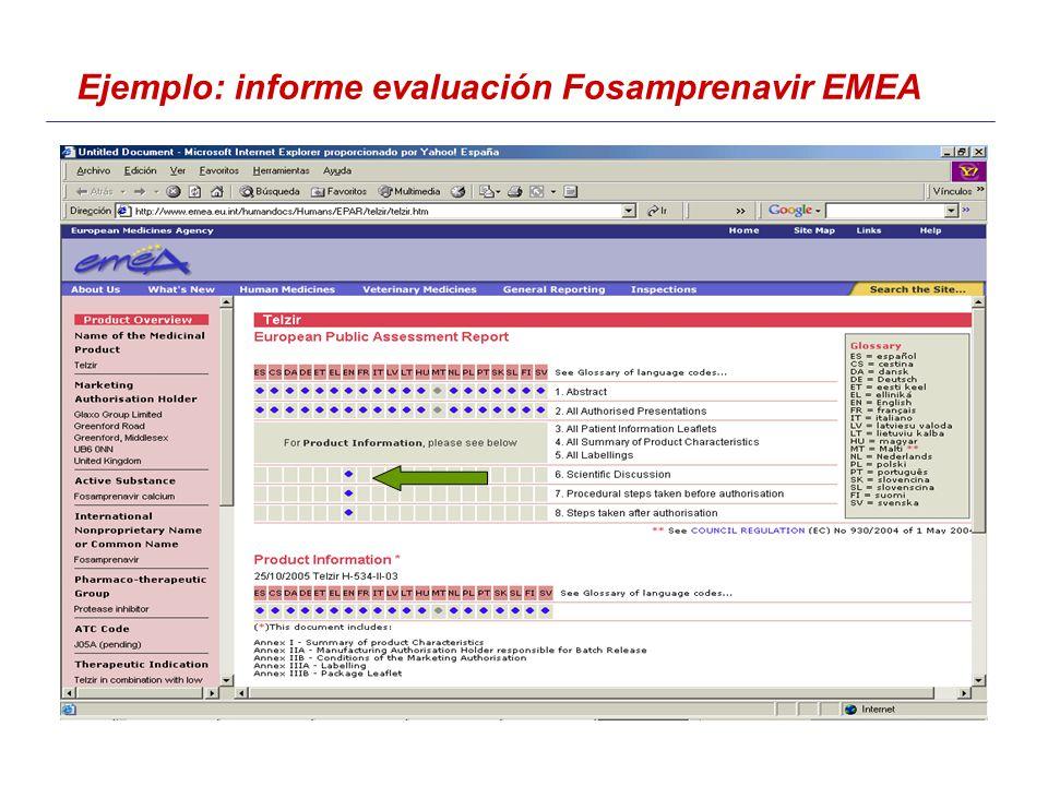 Ejemplo: informe evaluación Fosamprenavir EMEA
