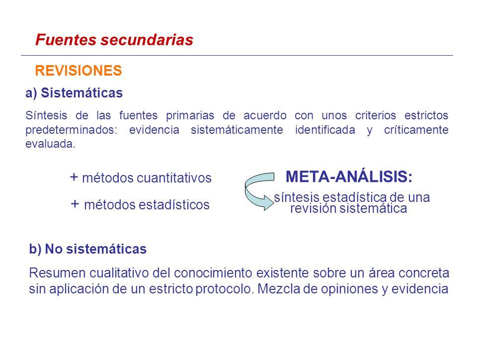 a) Sistemáticas Síntesis de las fuentes primarias de acuerdo con unos criterios estrictos predeterminados: evidencia sistemáticamente identificada y críticamente evaluada.