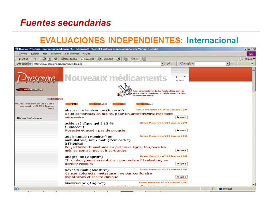 Fuentes secundarias EVALUACIONES INDEPENDIENTES: Internacional