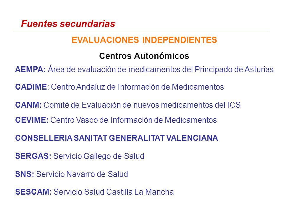 AEMPA: Área de evaluación de medicamentos del Principado de Asturias CADIME: Centro Andaluz de Información de Medicamentos CANM: Comité de Evaluación de nuevos medicamentos del ICS CEVIME: Centro Vasco de Información de Medicamentos CONSELLERIA SANITAT GENERALITAT VALENCIANA SERGAS: Servicio Gallego de Salud SNS: Servicio Navarro de Salud SESCAM: Servicio Salud Castilla La Mancha Fuentes secundarias EVALUACIONES INDEPENDIENTES Centros Autonómicos