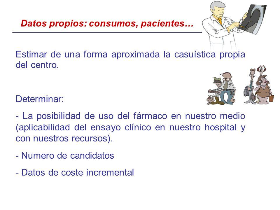 Datos propios: consumos, pacientes… Estimar de una forma aproximada la casuística propia del centro.