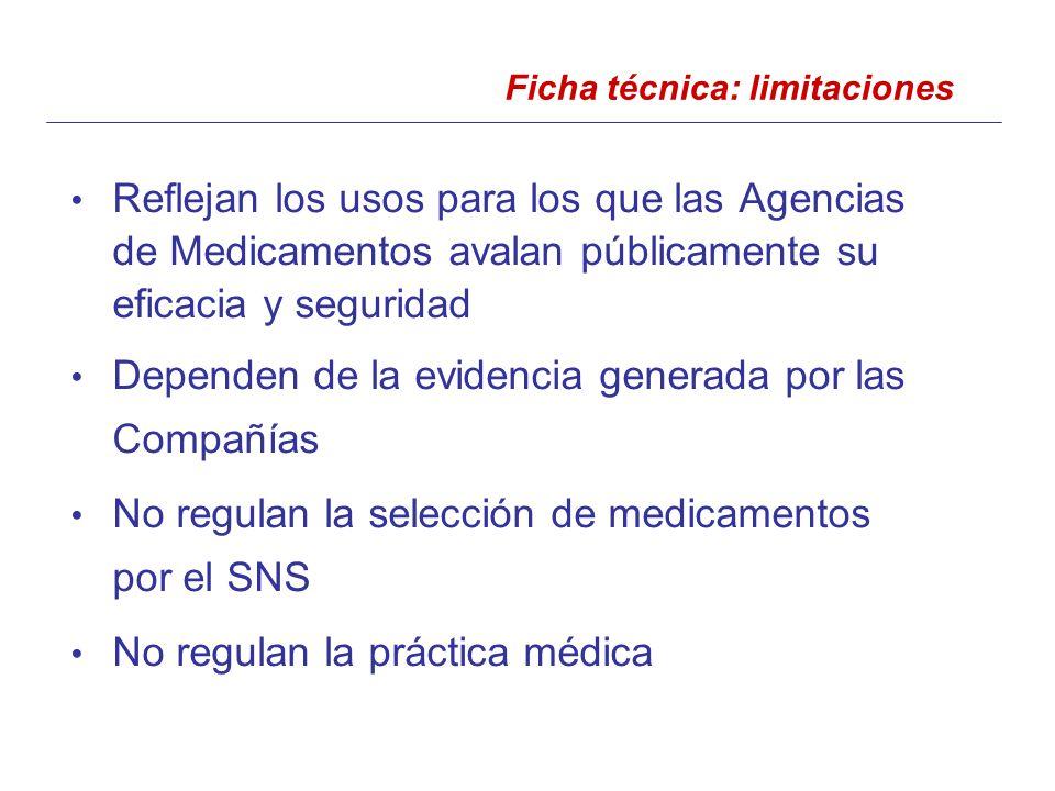 Reflejan los usos para los que las Agencias de Medicamentos avalan públicamente su eficacia y seguridad Dependen de la evidencia generada por las Compañías No regulan la selección de medicamentos por el SNS No regulan la práctica médica Ficha técnica: limitaciones