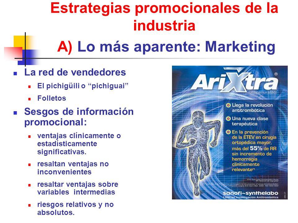 Estrategias promocionales de la industria A) Lo más aparente: Marketing La red de vendedores El pichigüili o pichiguai Folletos Sesgos de información promocional: ventajas clínicamente o estadísticamente significativas.