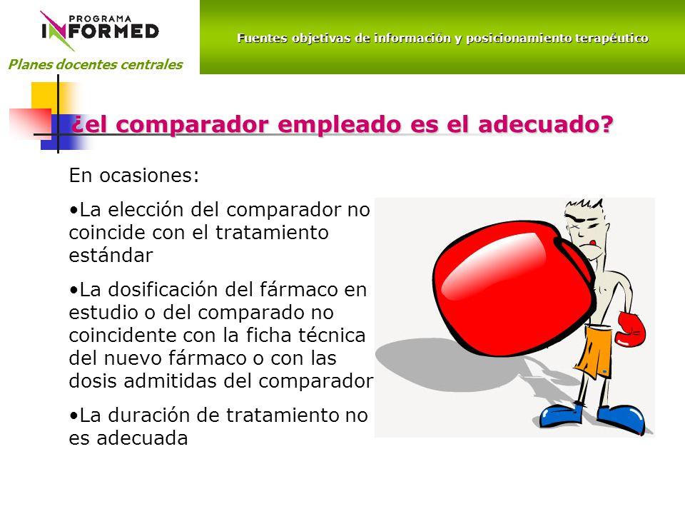 Fuentes objetivas de información y posicionamiento terapéutico Planes docentes centrales ¿el comparador empleado es el adecuado.