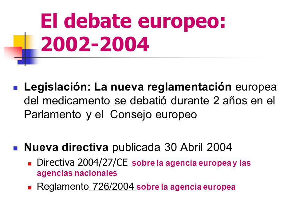 El debate europeo: 2002-2004 Legislación: La nueva reglamentación europea del medicamento se debatió durante 2 años en el Parlamento y el Consejo europeo Nueva directiva publicada 30 Abril 2004 Directiva 2004/27/CE sobre la agencia europea y las agencias nacionales Reglamento 726/2004 sobre la agencia europea