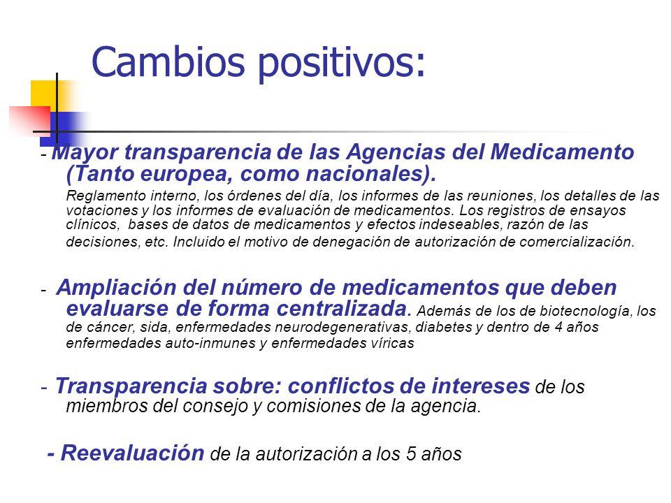 Cambios positivos: - Mayor transparencia de las Agencias del Medicamento (Tanto europea, como nacionales).