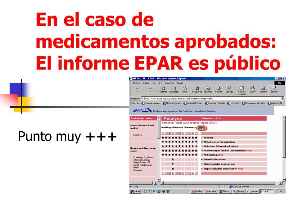 En el caso de medicamentos aprobados: El informe EPAR es público Punto muy +++