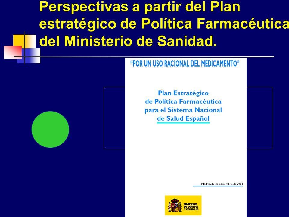 Perspectivas a partir del Plan estratégico de Política Farmacéutica del Ministerio de Sanidad.