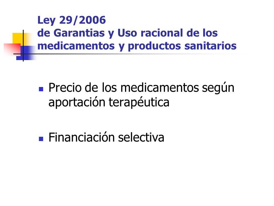 Ley 29/2006 de Garantias y Uso racional de los medicamentos y productos sanitarios Precio de los medicamentos según aportación terapéutica Financiación selectiva