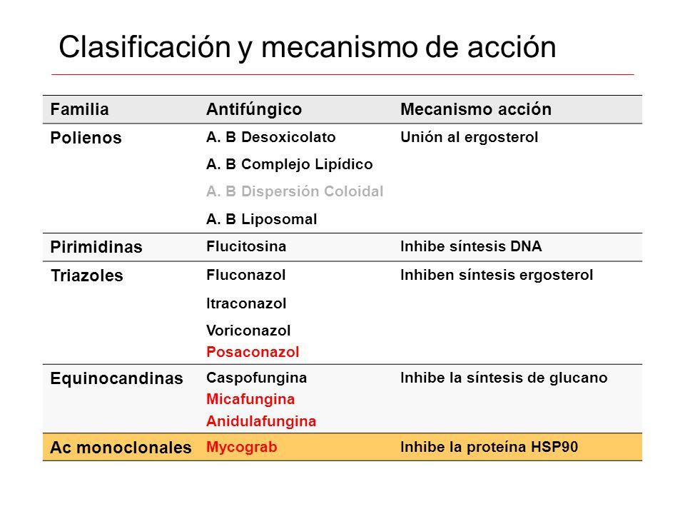Clasificación y mecanismo de acción FamiliaAntifúngicoMecanismo acción Polienos A. B DesoxicolatoUnión al ergosterol A. B Complejo Lipídico A. B Dispe