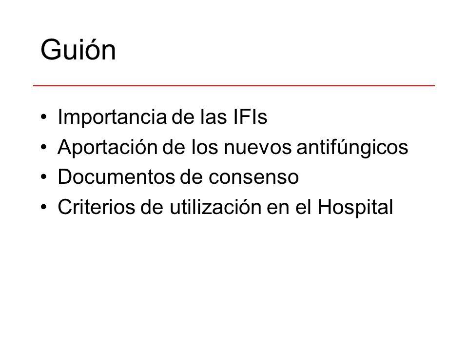 Guión Importancia de las IFIs Aportación de los nuevos antifúngicos Documentos de consenso Criterios de utilización en el Hospital