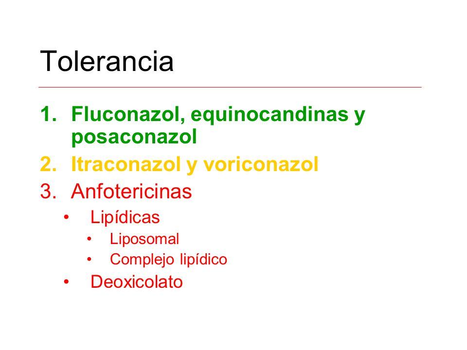 Tolerancia 1.Fluconazol, equinocandinas y posaconazol 2.Itraconazol y voriconazol 3.Anfotericinas Lipídicas Liposomal Complejo lipídico Deoxicolato