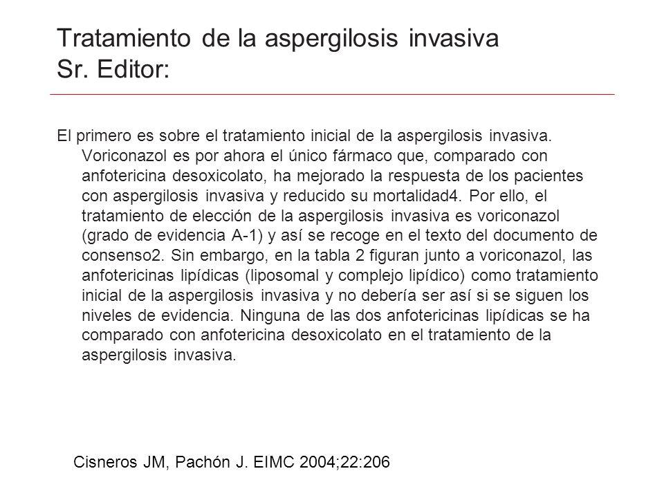 Tratamiento de la aspergilosis invasiva Sr. Editor: El primero es sobre el tratamiento inicial de la aspergilosis invasiva. Voriconazol es por ahora e