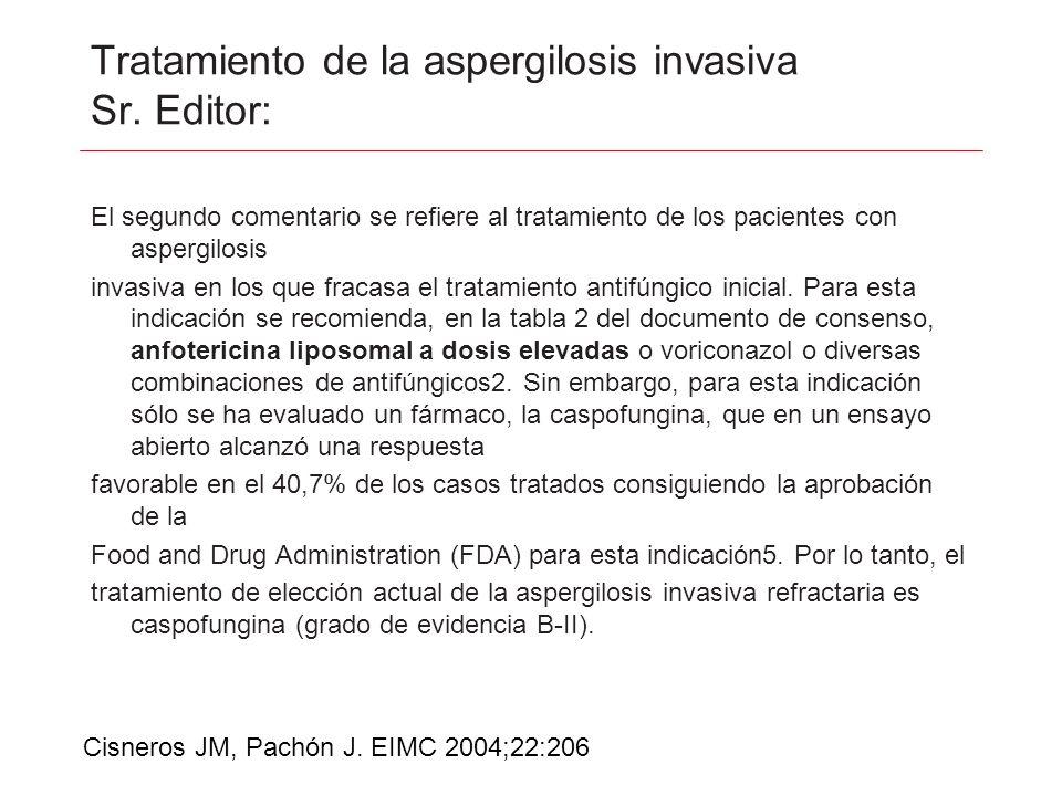 Tratamiento de la aspergilosis invasiva Sr. Editor: El segundo comentario se refiere al tratamiento de los pacientes con aspergilosis invasiva en los