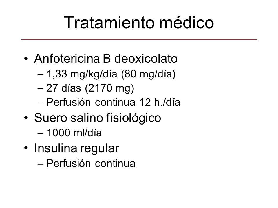 Tratamiento médico Anfotericina B deoxicolato –1,33 mg/kg/día (80 mg/día) –27 días (2170 mg) –Perfusión continua 12 h./día Suero salino fisiológico –1