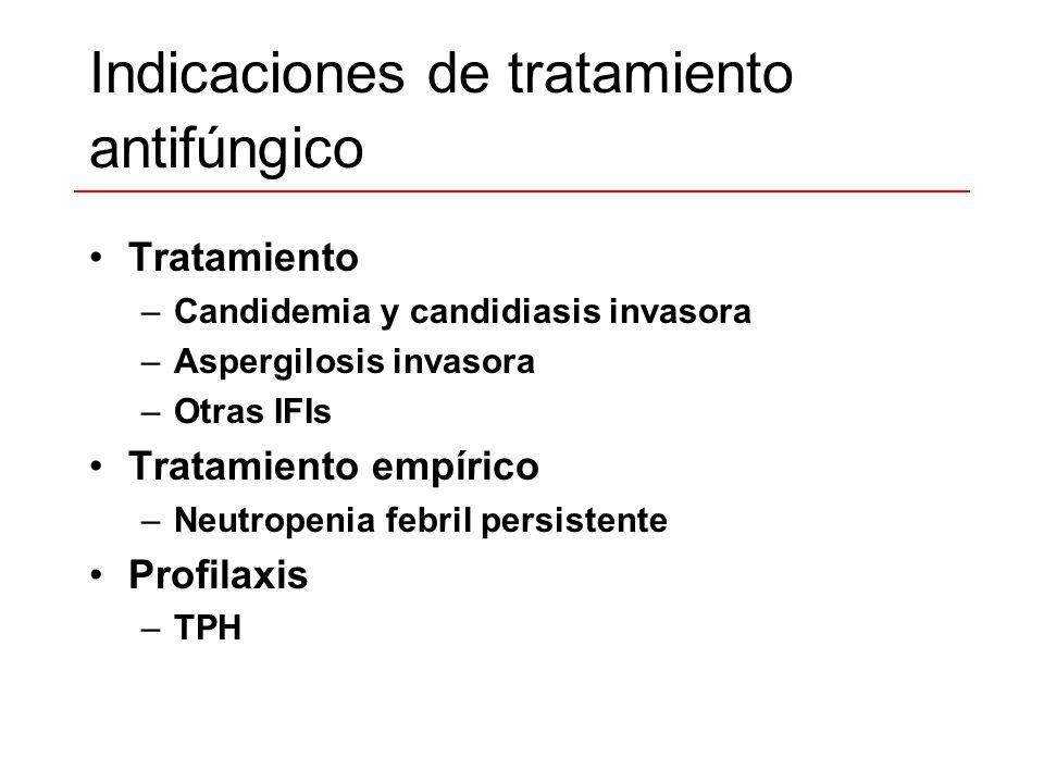 Indicaciones de tratamiento antifúngico Tratamiento –Candidemia y candidiasis invasora –Aspergilosis invasora –Otras IFIs Tratamiento empírico –Neutro
