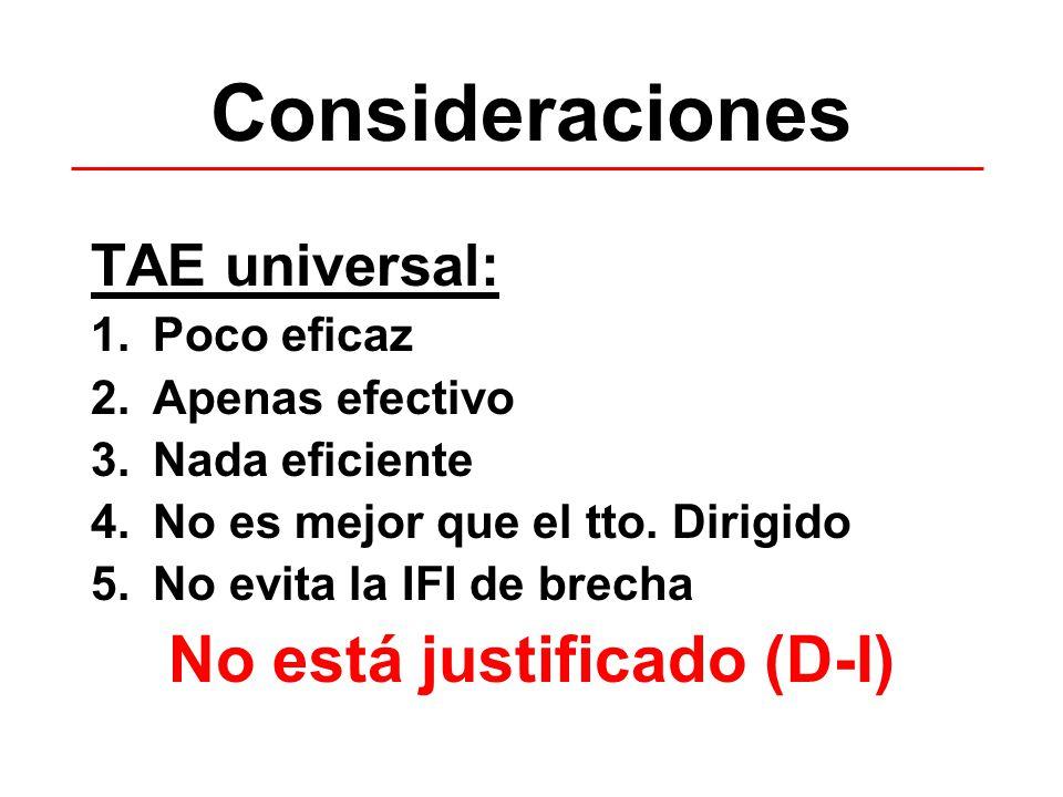 Consideraciones TAE universal: 1.Poco eficaz 2.Apenas efectivo 3.Nada eficiente 4.No es mejor que el tto. Dirigido 5.No evita la IFI de brecha No está