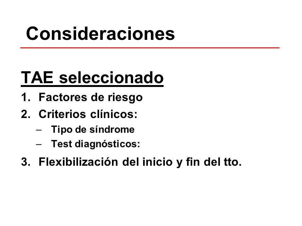 Consideraciones TAE seleccionado 1.Factores de riesgo 2.Criterios clínicos: –Tipo de síndrome –Test diagnósticos: 3.Flexibilización del inicio y fin d