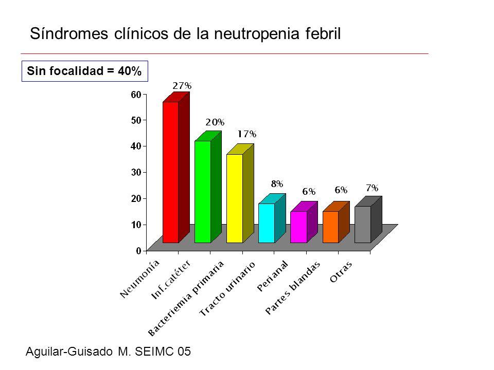 Síndromes clínicos de la neutropenia febril Aguilar-Guisado M. SEIMC 05 Sin focalidad = 40%
