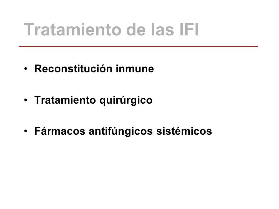 Tratamiento de las IFI Reconstitución inmune Tratamiento quirúrgico Fármacos antifúngicos sistémicos