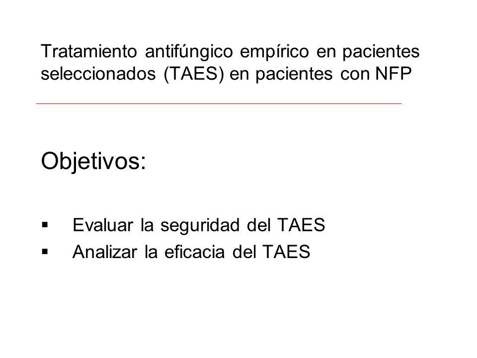 Tratamiento antifúngico empírico en pacientes seleccionados (TAES) en pacientes con NFP Objetivos: Evaluar la seguridad del TAES Analizar la eficacia