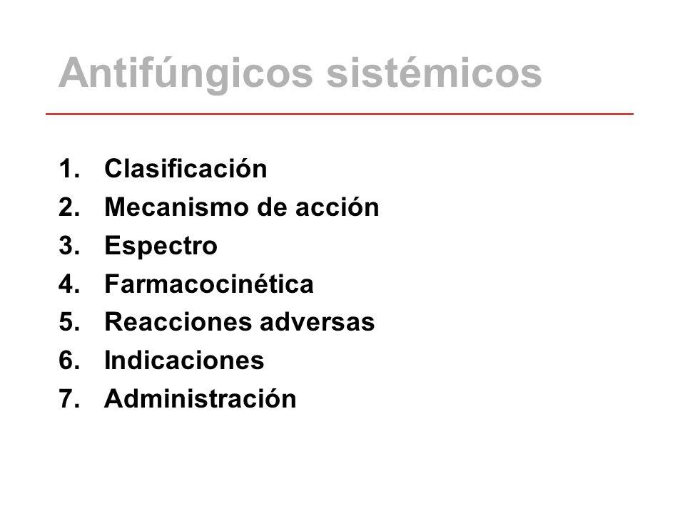 Antifúngicos sistémicos 1.Clasificación 2.Mecanismo de acción 3.Espectro 4.Farmacocinética 5.Reacciones adversas 6.Indicaciones 7.Administración