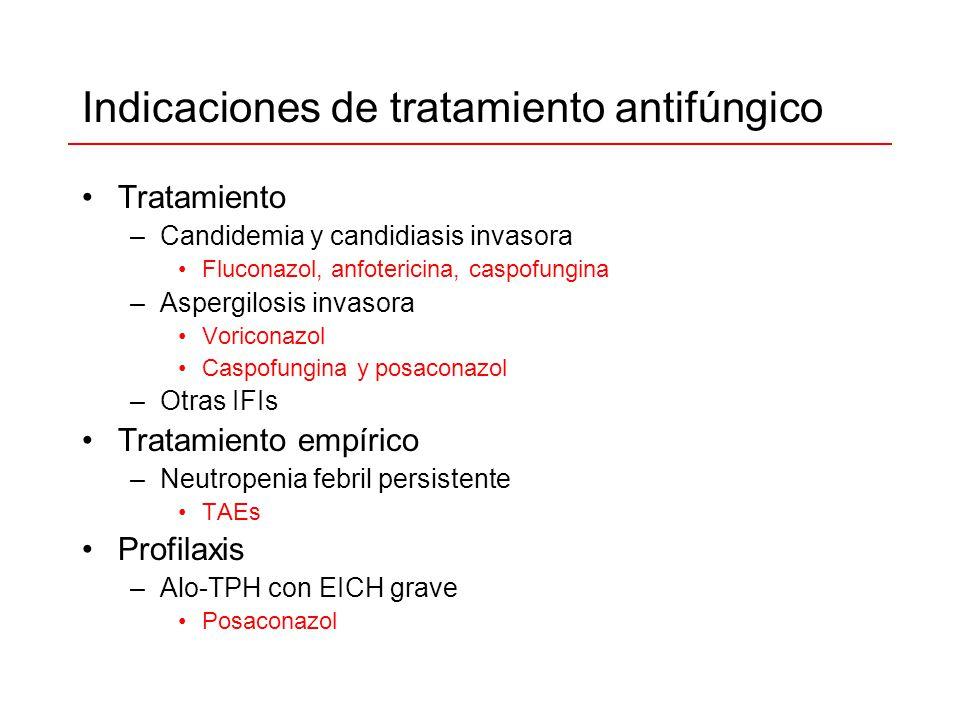 Indicaciones de tratamiento antifúngico Tratamiento –Candidemia y candidiasis invasora Fluconazol, anfotericina, caspofungina –Aspergilosis invasora V
