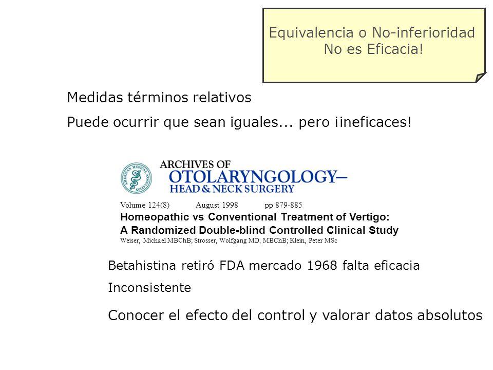 Medidas términos relativos Puede ocurrir que sean iguales... pero ¡ineficaces! Volume 124(8) August 1998 pp 879-885 Homeopathic vs Conventional Treatm