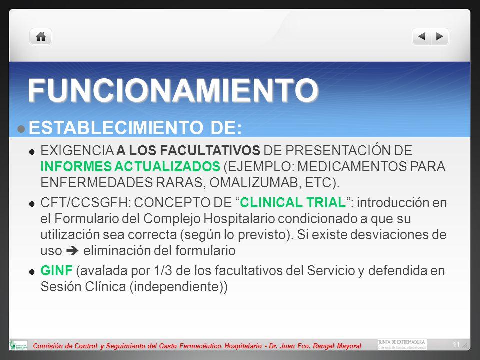 Comisión de Control y Seguimiento del Gasto Farmacéutico Hospitalario - Dr. Juan Fco. Rangel Mayoral 11 FUNCIONAMIENTO ESTABLECIMIENTO DE: EXIGENCIA A