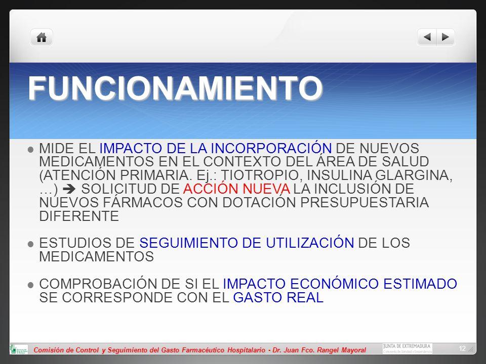 Comisión de Control y Seguimiento del Gasto Farmacéutico Hospitalario - Dr. Juan Fco. Rangel Mayoral 12 FUNCIONAMIENTO MIDE EL IMPACTO DE LA INCORPORA