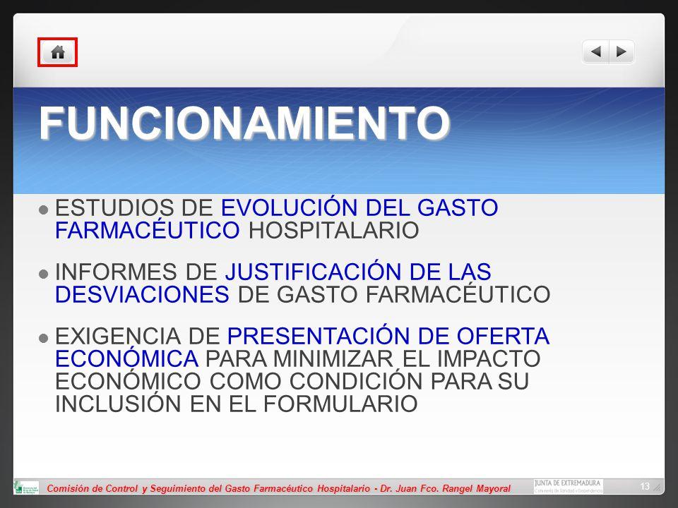 Comisión de Control y Seguimiento del Gasto Farmacéutico Hospitalario - Dr. Juan Fco. Rangel Mayoral 13 FUNCIONAMIENTO ESTUDIOS DE EVOLUCIÓN DEL GASTO