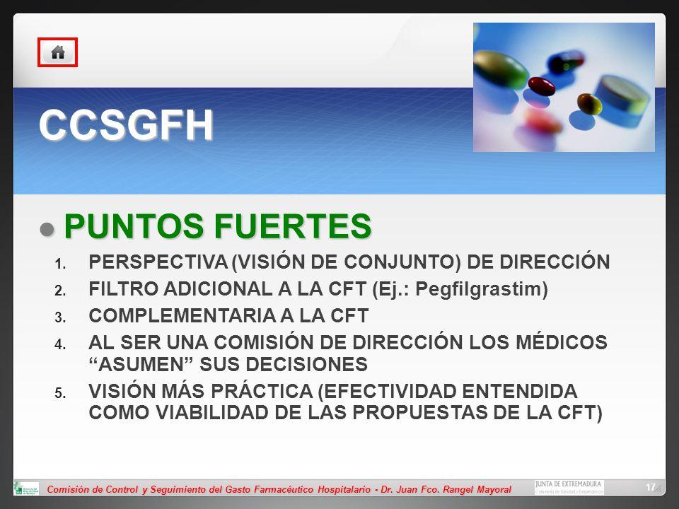 Comisión de Control y Seguimiento del Gasto Farmacéutico Hospitalario - Dr. Juan Fco. Rangel Mayoral 17 CCSGFH PUNTOS FUERTES PUNTOS FUERTES PERSPECTI