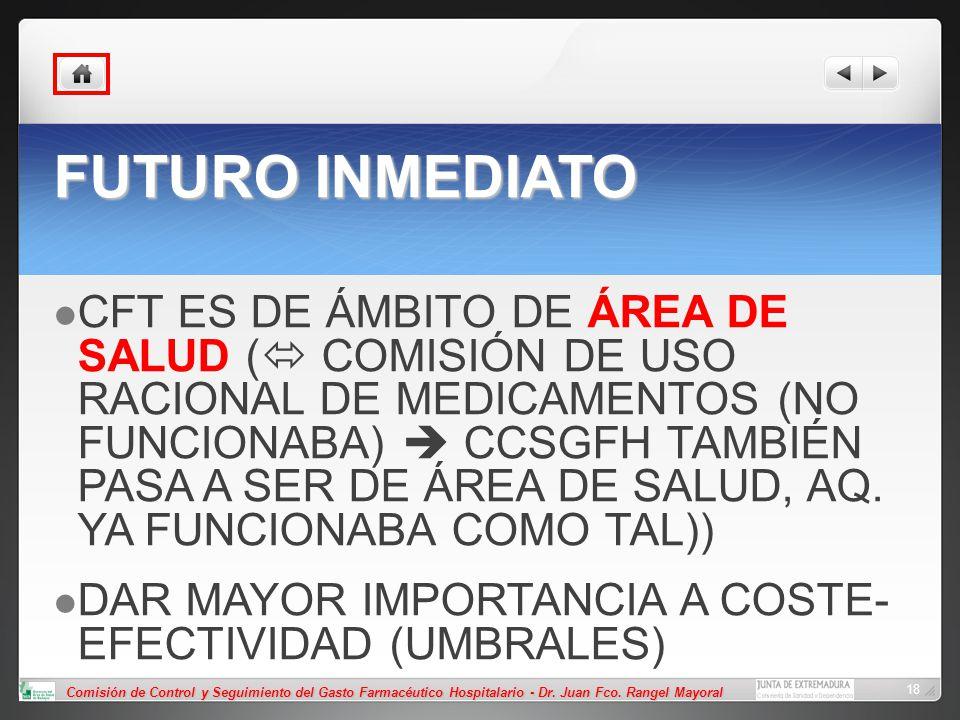 Comisión de Control y Seguimiento del Gasto Farmacéutico Hospitalario - Dr. Juan Fco. Rangel Mayoral 18 FUTURO INMEDIATO CFT ES DE ÁMBITO DE ÁREA DE S