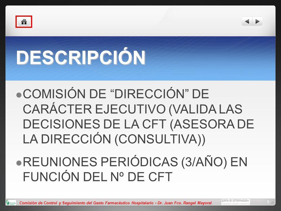 Comisión de Control y Seguimiento del Gasto Farmacéutico Hospitalario - Dr. Juan Fco. Rangel Mayoral 5 DESCRIPCIÓN COMISIÓN DE DIRECCIÓN DE CARÁCTER E