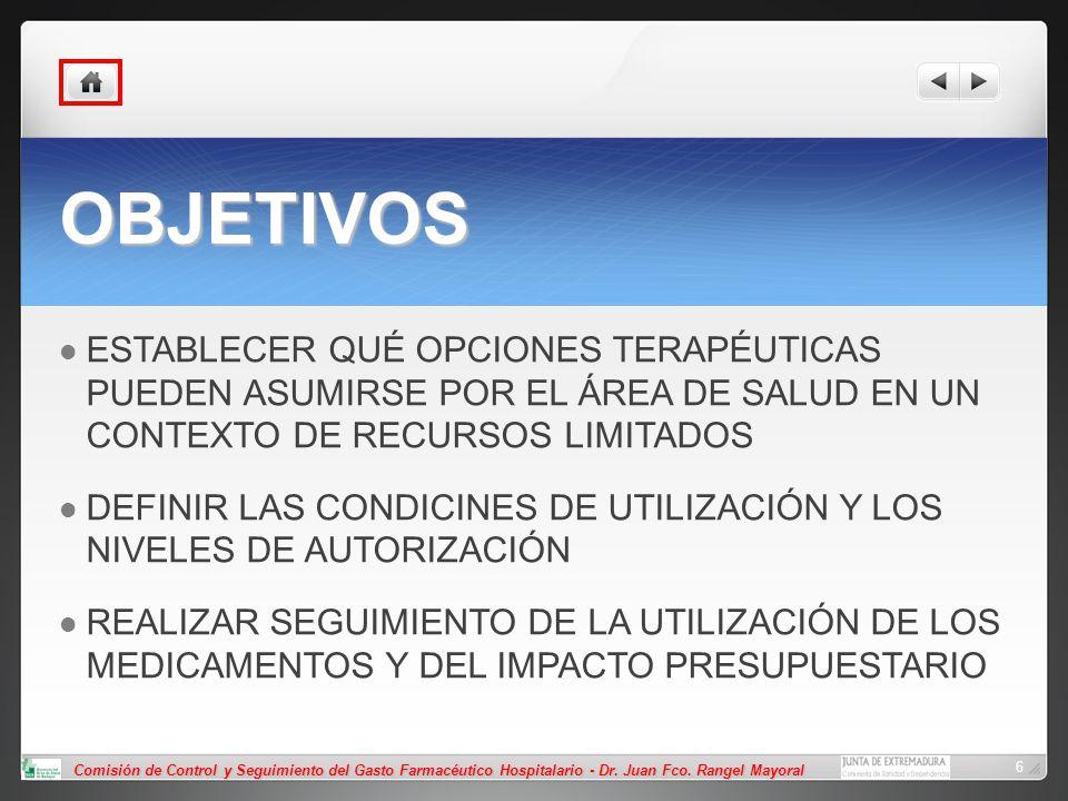 Comisión de Control y Seguimiento del Gasto Farmacéutico Hospitalario - Dr. Juan Fco. Rangel Mayoral 6 OBJETIVOS ESTABLECER QUÉ OPCIONES TERAPÉUTICAS