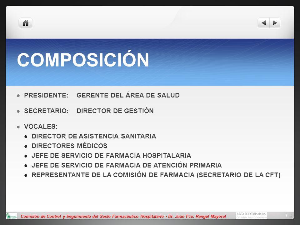 Comisión de Control y Seguimiento del Gasto Farmacéutico Hospitalario - Dr. Juan Fco. Rangel Mayoral 7 COMPOSICIÓN PRESIDENTE:GERENTE DEL ÁREA DE SALU