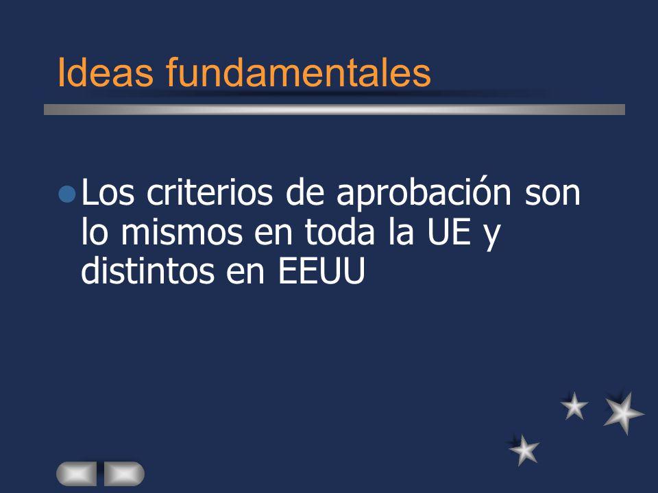 Ideas fundamentales Los criterios de aprobación son lo mismos en toda la UE y distintos en EEUU