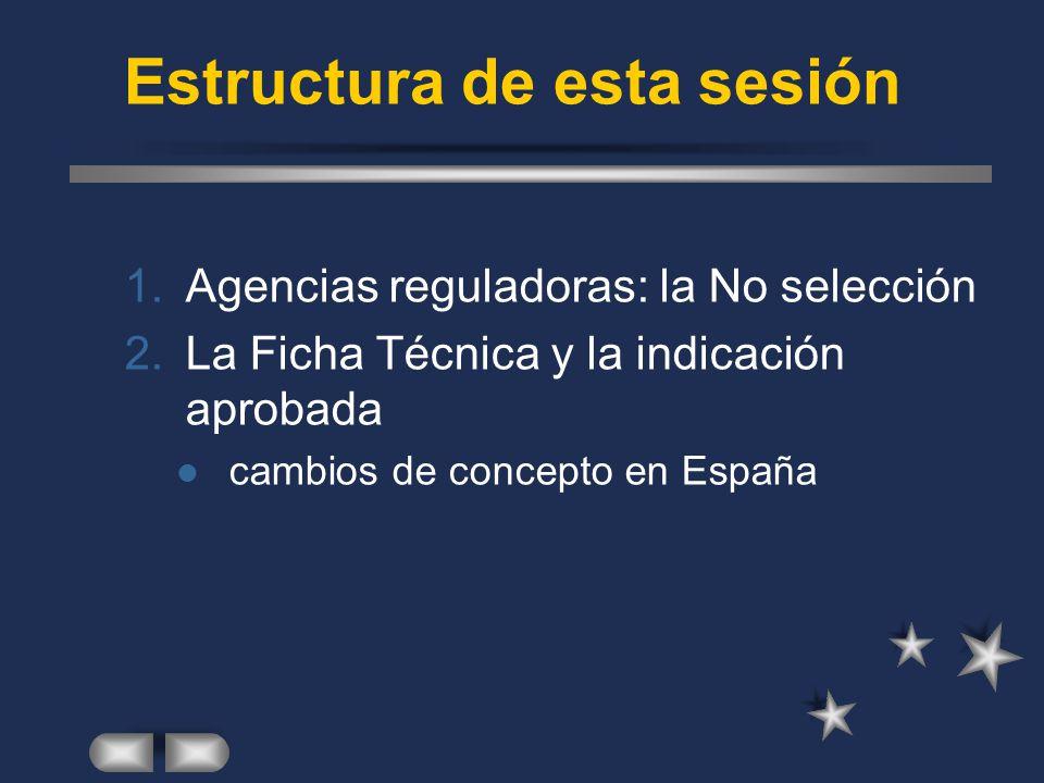 Estructura de esta sesión 1.Agencias reguladoras: la No selección 2.La Ficha Técnica y la indicación aprobada cambios de concepto en España