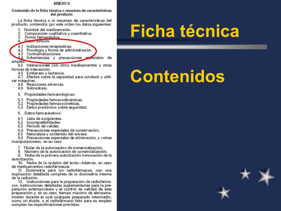 Ficha técnica Contenidos