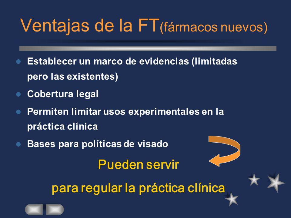 Ventajas de la FT (fármacos nuevos) Establecer un marco de evidencias (limitadas pero las existentes) Cobertura legal Permiten limitar usos experimentales en la práctica clínica Bases para políticas de visado Pueden servir para regular la práctica clínica