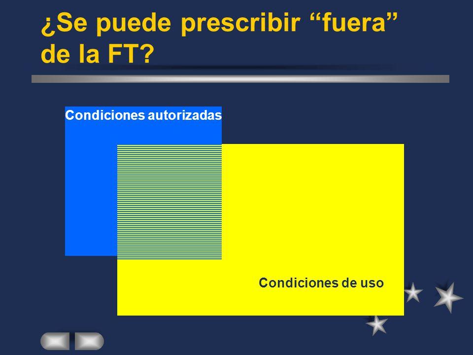 ¿Se puede prescribir fuera de la FT Condiciones de uso Condiciones autorizadas