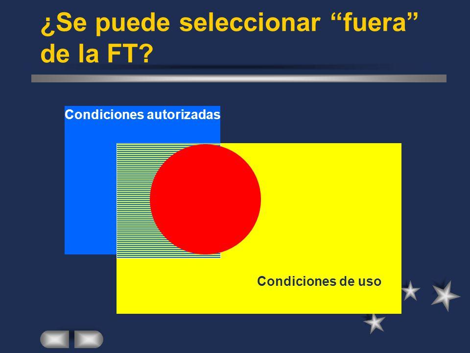 ¿Se puede seleccionar fuera de la FT Condiciones de uso Condiciones autorizadas