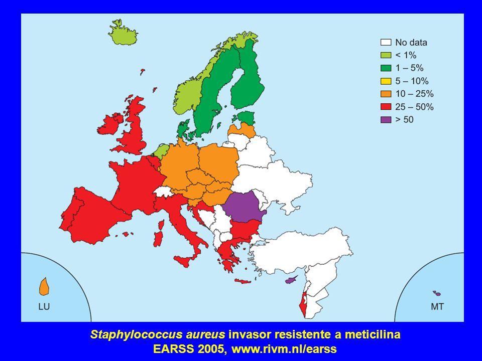 Staphylococcus aureus invasor resistente a meticilina EARSS 2005, www.rivm.nl/earss