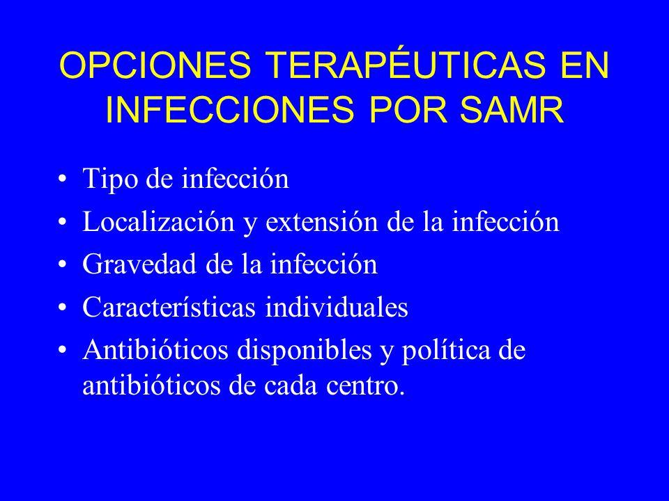 OPCIONES TERAPÉUTICAS EN INFECCIONES POR SAMR Tipo de infección Localización y extensión de la infección Gravedad de la infección Características individuales Antibióticos disponibles y política de antibióticos de cada centro.